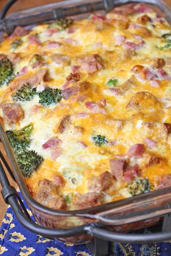 one dish breakfast casserol Ham and Broccoli Breakfast Casserole with Extra Sharp Cheddar
